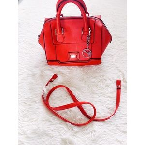 Red GUESS satchel bag